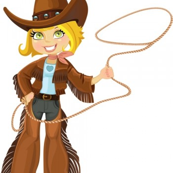 Cowgirl with lasso for retiring roundup