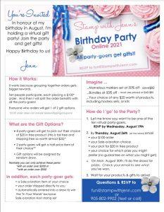 Birthday party info