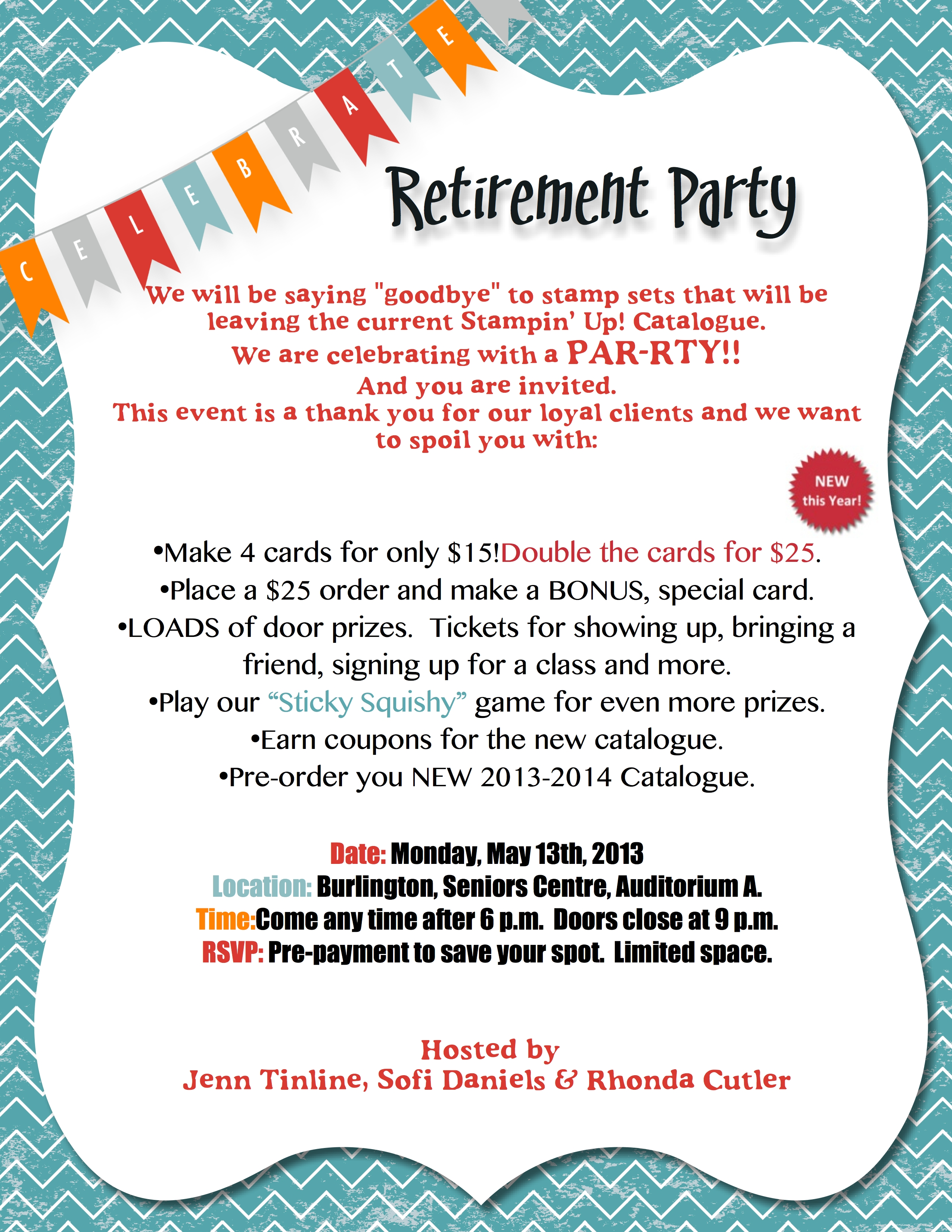 stamping retirement party on may 13th stamp with jenn