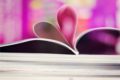 Valentine heart on book pages small