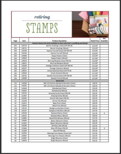Retiring stamp set list
