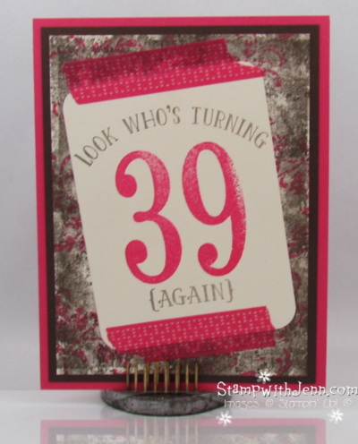 Shabby Chic Birthday card using Number of Years stamp set